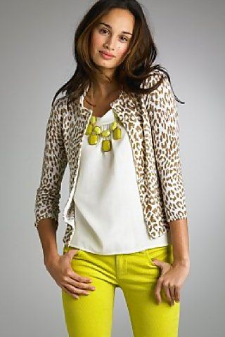 Leopard sweater and chartreuse skinnies
