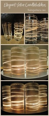 Use glasses (from dollar store,) rubber bands, and spray paint to make beautiful candle holders. Easy and pretty homemade decoration or table centerpiece :)