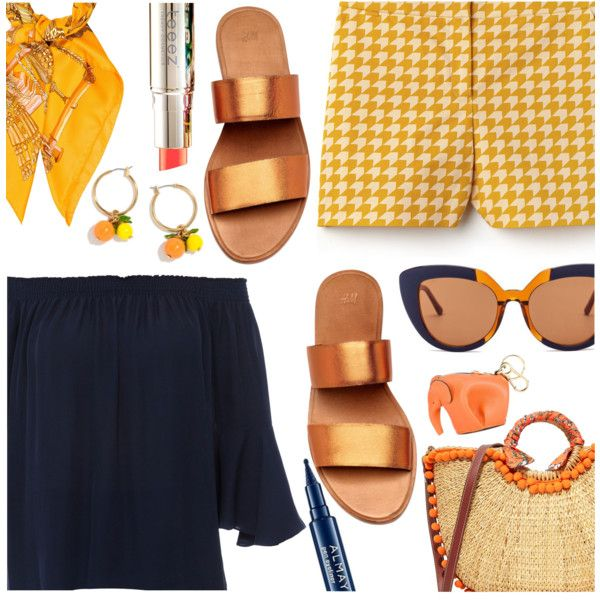 Navy & Orange by stacey-lynne on Polyvore featuring polyvore, fashion, style, Kobi Halperin, Lacoste, Sam Edelman, Loewe, J.Crew, Hermès and Marni