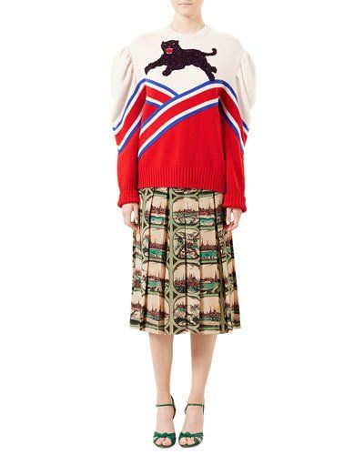 -6WLM Gucci  Embroidered Wool Top, Red/Blue/Natural Postcard-Print Silk Crepe de Chine Skirt, Almond