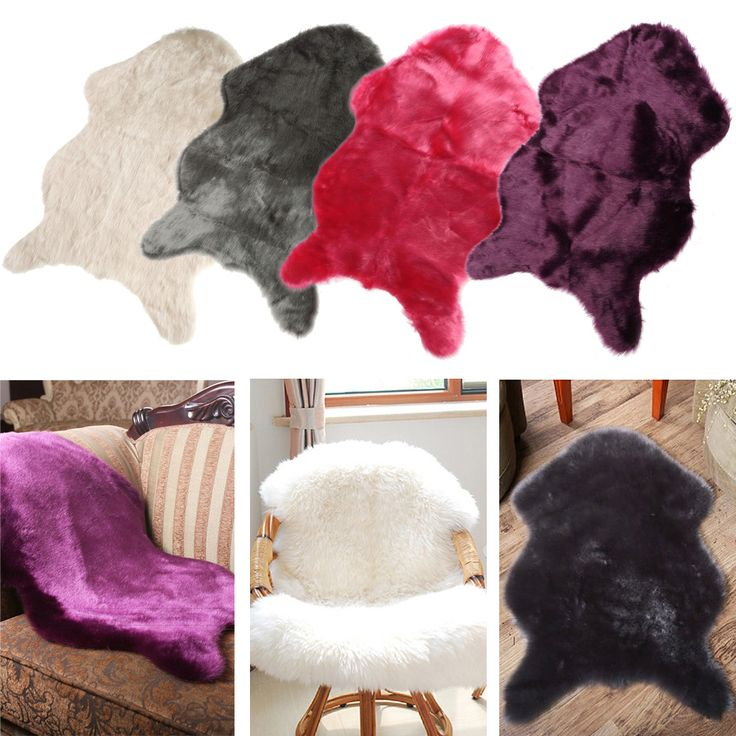 Hairy Carpet Sheepskin Chair Cover Bedroom Faux Mat Seat Pad Fluffy Rugs Washable Artificial Textile -- BuyinCoins.com