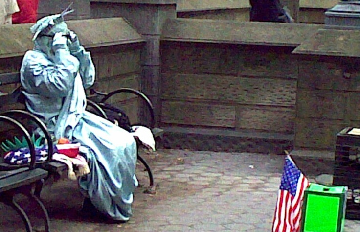 Even Lady Liberty needs a break @ Central Park