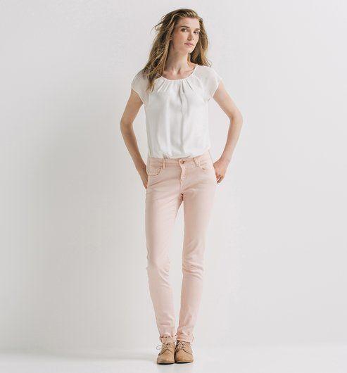Pantalon slim en toile Femme saumon - Promod