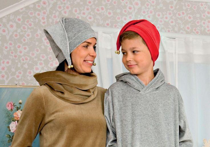 Ompele itse tonttulakki joustavasta kankaasta - mallissa on kokoja lapsille ja aikuisille. Täältä löydät kaavat ja ompeluohjeet.
