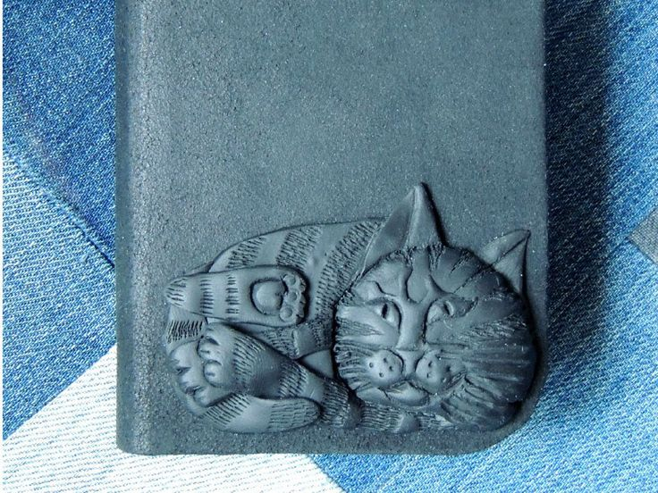 Sketchbook with a leather cover and a sculpture of a cat by MacomboArt on Etsy