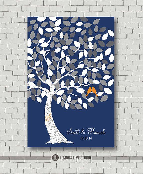 Commentaires livre Alternative - arbre de mariage - Guest Book Estampe - affiche de mariage - mariage douches nuptiales - Guest Book Print - mariage marine Decor