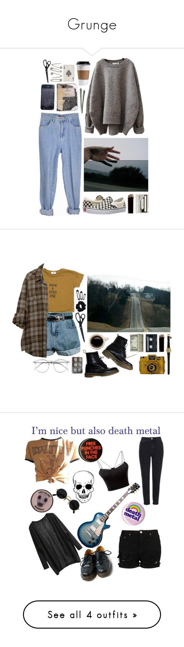 """""""Grunge"""" by asoky ❤ liked on Polyvore featuring Vans, GAS Jeans, CASSETTE, HAY, vintage, Retrò, Dr. Martens, Holga, Wildfox and American Apparel"""