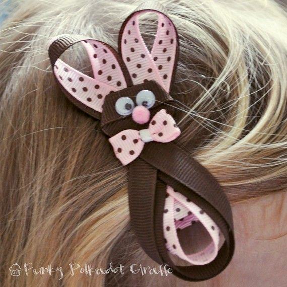 Brown Bunny Rabbit hair clip bow