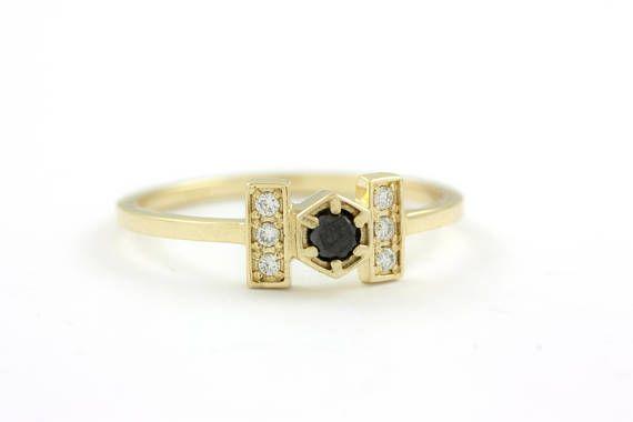 Hexagon Diamond Ring, Diamond Engagement Ring, Solid Gold Diamond Ring, Minimalist Diamond Ring, White and Black Diamond Ring, GR0440