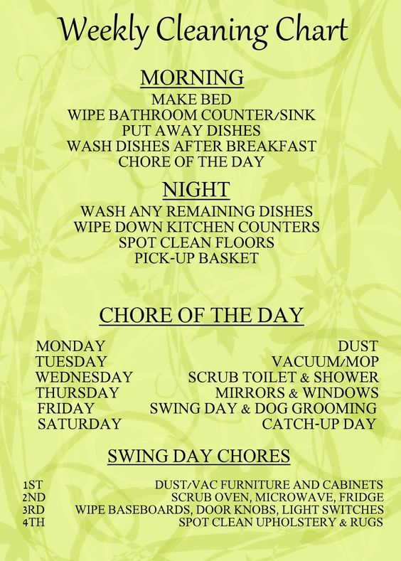 I would love to be organized and disciplined enough to keep up with this daily/weekly cleaning chart (or one similar) to keep the house tidy with less stress. We will see....