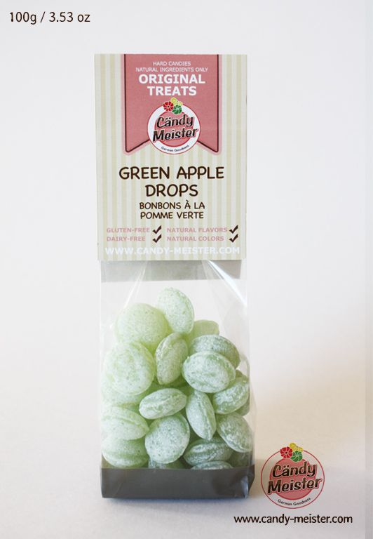 Green Apple Slices contain natural, gluten-free and dairy-free ingredients only. High quality natural apple extract gives this candy a robust and aromatic taste of juicy Granny Smith Apples. When dissolved in hot water, this candy turns into a mild, naturally sweetened fruit tea. www.candy-meister.com