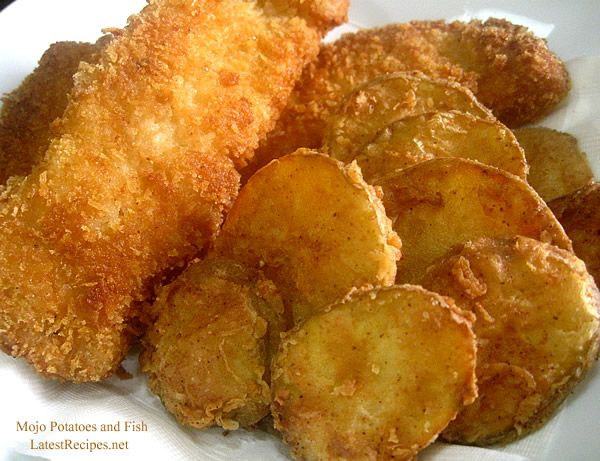 Mojo Potatoes Recipe Side Dishes with potatoes, flour, cayenne pepper, paprika, garlic powder, salt, pepper, milk, eggs, cooking oil