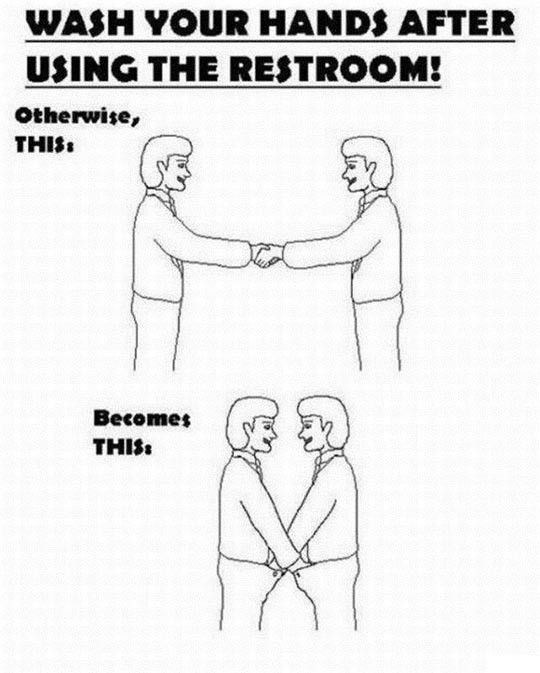 Funny Wash your hands after using the restroom! Sign