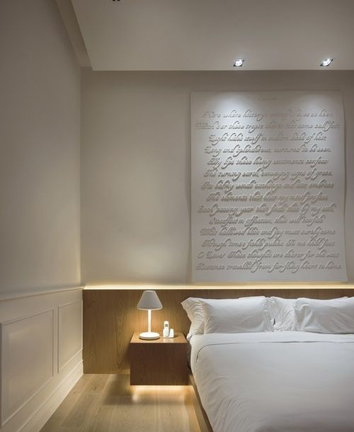 Love the words on the wall and lighting on it Guest room- lighted headboard.