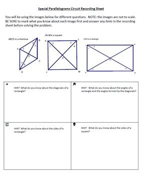 Activity for students to practice properties of special parallelograms by answering questions that are posted around the room and then finding those answers on another question that is posted around the room. Includes rules for angles in a rectangle, rhombus, square as well as properties of diagonals and angles created by diagonals in each.