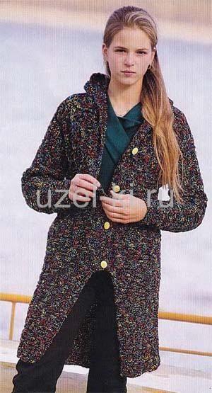 Вязаное пальто для девочки подростка