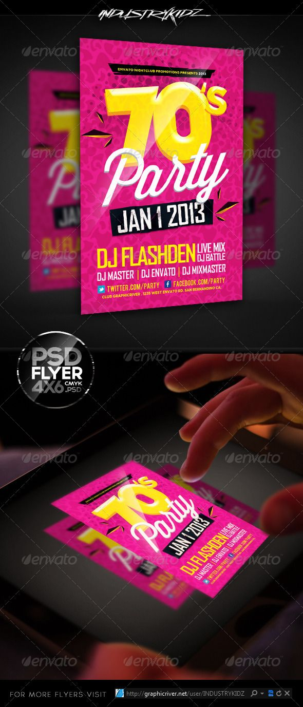 70s poster design template - Retro Theme Party Flyer Template