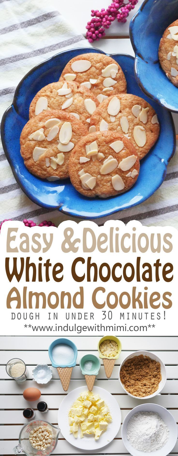 Easy and delicious White Chocolate Almond Cookies. Prepare dough in under 30 min. Video and recipe.