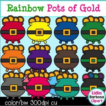 Happy St. Patrick's Day! This FREE clipart set includes:*pots of gold in 14 colors*pot of gold in black and whiteEnjoy!-Lidia BarbosaKinderAlphabet
