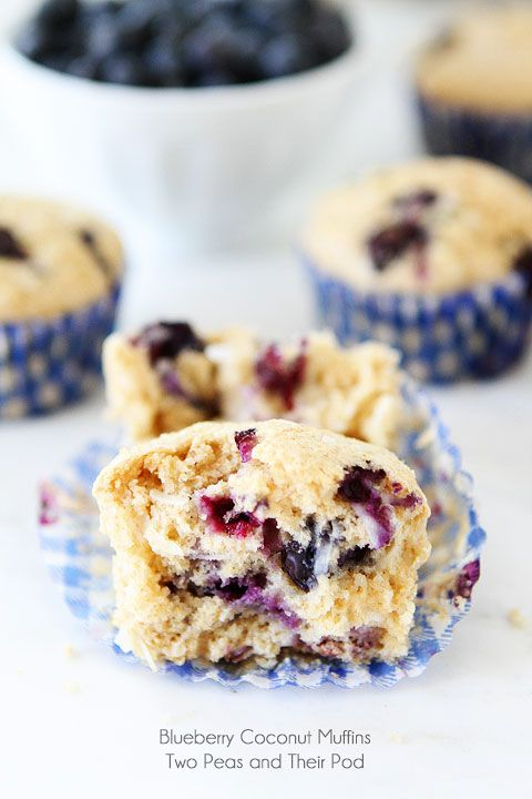 Blueberry Coconut Muffin Recipe on twopeasandtheirpod.com Coconut fans will love these muffins!