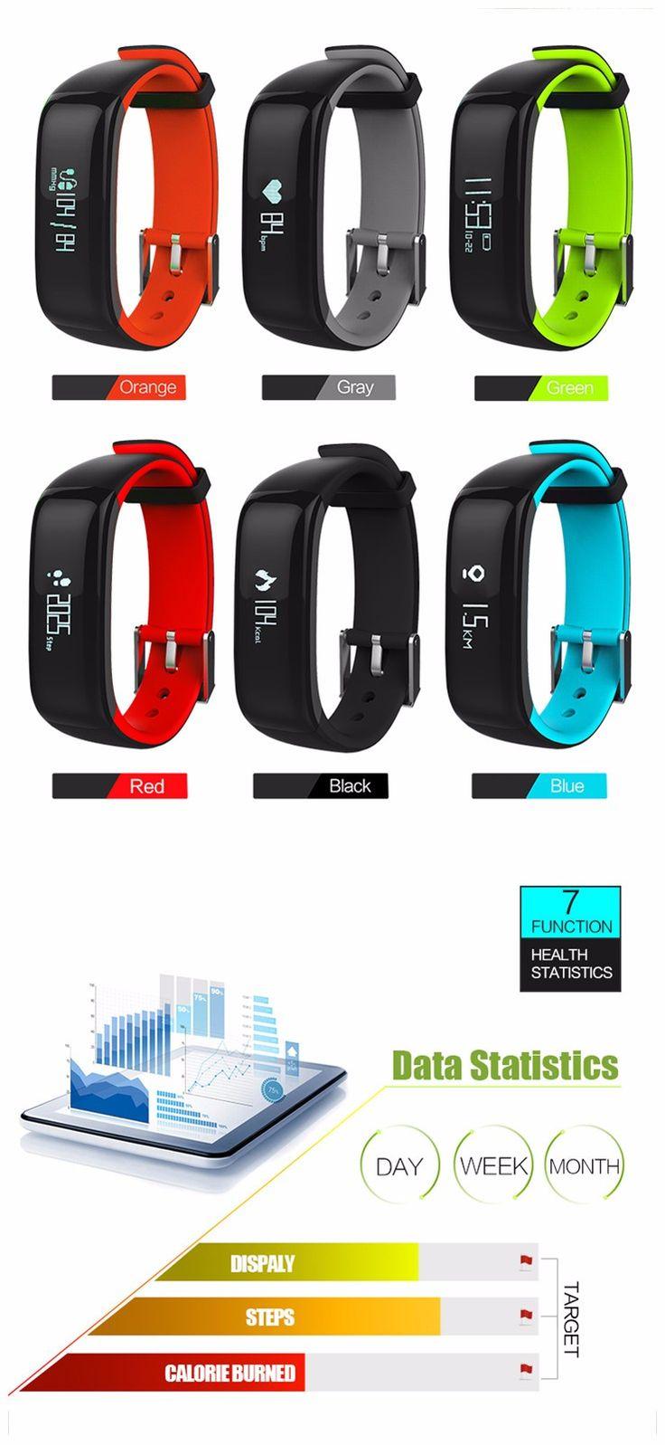 Sports P1 Smart Bluetooth Bracelet Wristband Heart Rate Blood Monitor Waterproof IP67 Watch