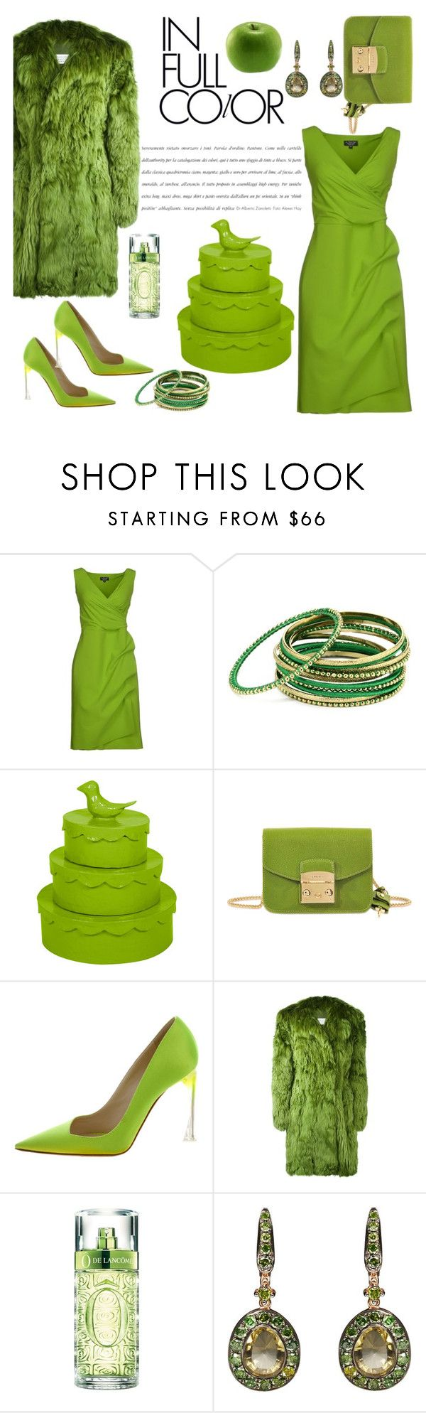 """What a Color"" by ahapplet ❤ liked on Polyvore featuring La Petite Robe di Chiara Boni, Amrita Singh, Stray Dog Designs, Furla, Christian Dior, Maison Margiela, Lancôme, Annoushka, GREEN and Monochromatic"