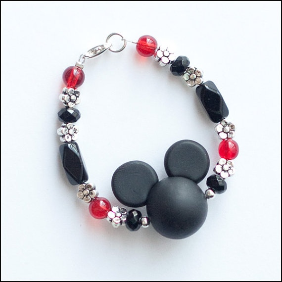 Mickey Mouse Disney Polymer Clay Black and Red Flower by cfingram, $7.00Mickey Mouse, Child Bracelets, Bracelets Jewelry, Clay Black, Red Flower, Mouse Disney, Polymer Clay, Disney Polymer, Flower Girls