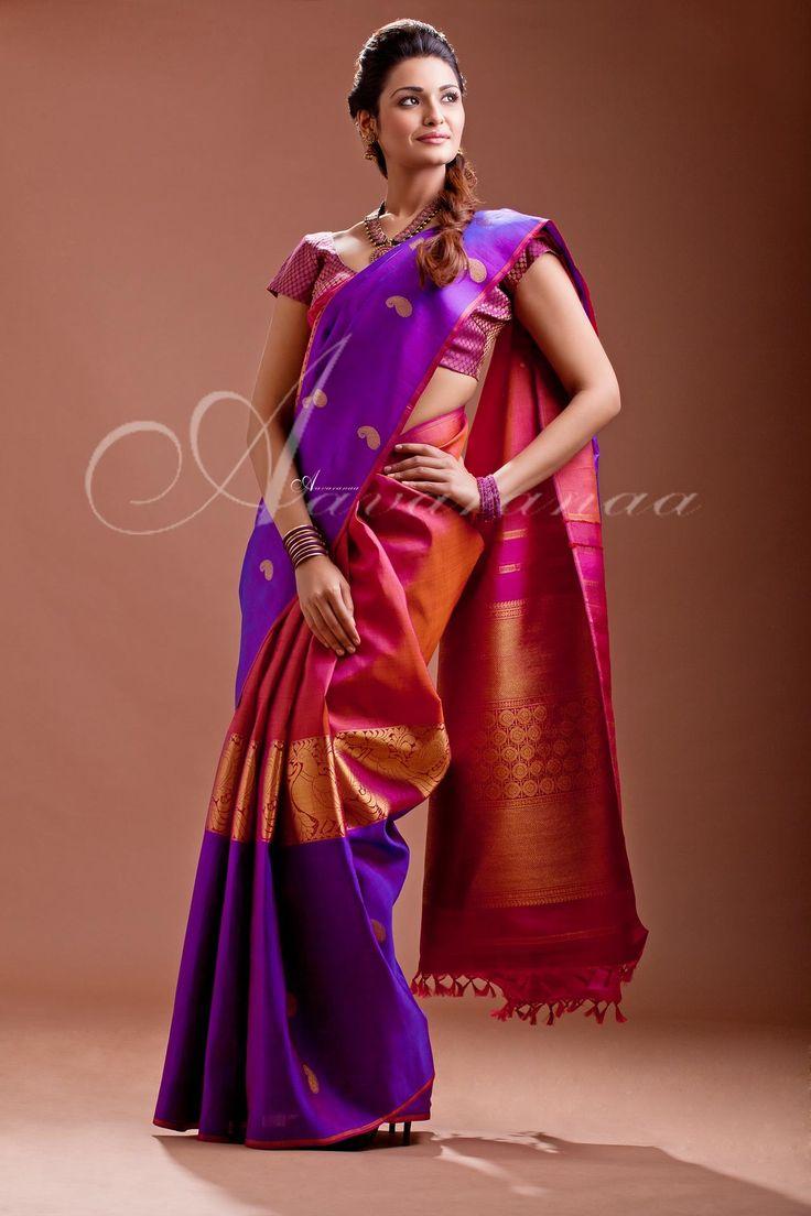 Violet Kancheepuram Silk Saree