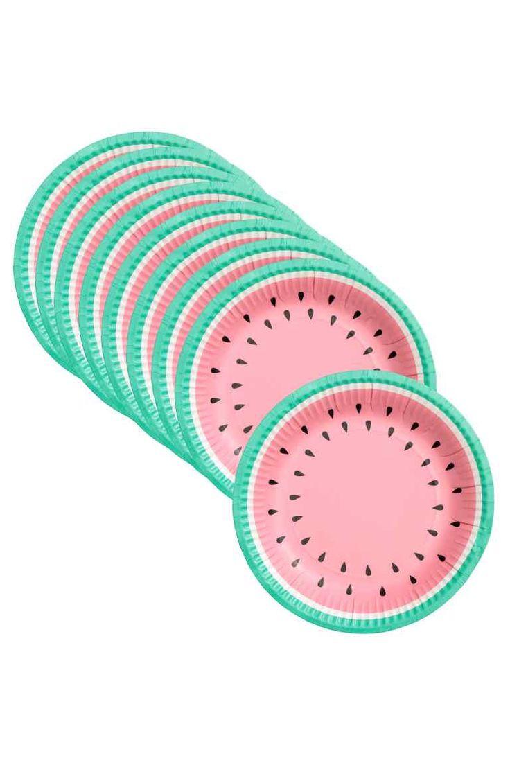 Pack de 10 platos de papel - Watermelon - HOME | H&M ES