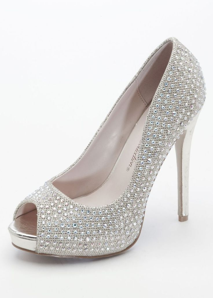 Wedding Bridesmaid Shoes Glitter Peep Toe Platforms With Crystals Silver