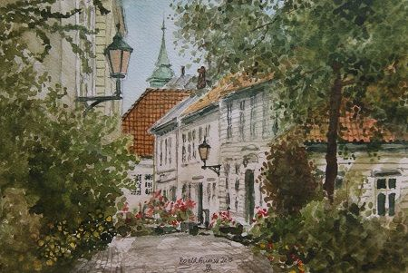 Kunstneren i Bergen: Akvarell av Lille Markvei i Bergen
