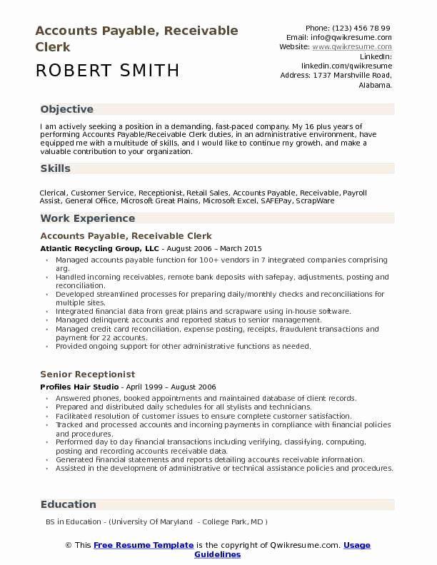 Accounts Payable Job Description Resume New Accounts Payable Receivable Clerk Resume Samples Accounts Payable Resume Examples Good Resume Examples