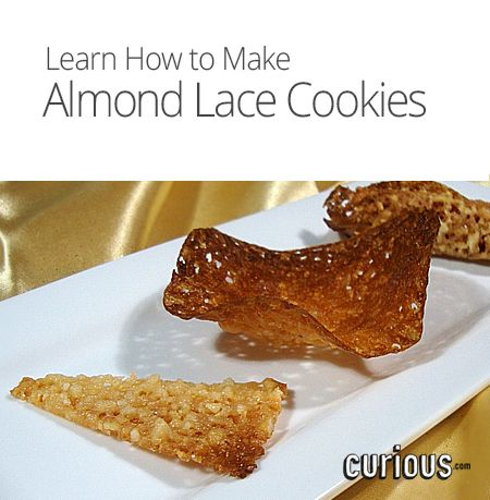 Lace cookies, Almonds and How to make on Pinterest