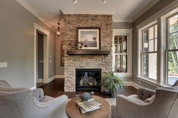 Gray Stacked Stone Fireplace With Black Hearth Design Ideas, Pictures, Remodel, and Decor - page 3