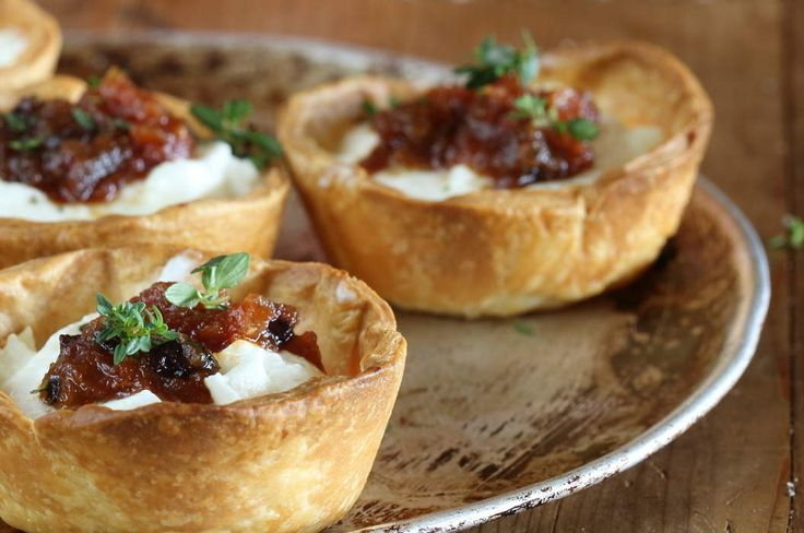 Maggie Beer's Warm Goats Cheese Tartlet with Preserved Lemon and Currant Chutney ~ via maggiebeer.com.au