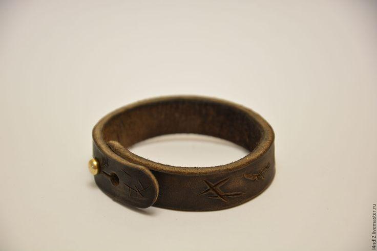Купить Браслет из кожи - браслет из кожи, браслет, состаренная кожа, винтаж, ручная работа
