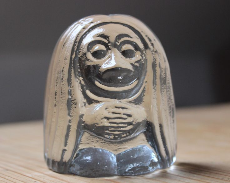 Vintage Scandinavia Glass Troll Paperweight / ornament very similar in style to Orrefors and Bergdala
