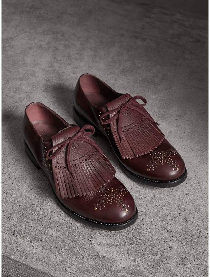 c7aed2e571b97 Burberry Lace-up Kiltie Fringe Riveted Leather Loafers | Beauty ...
