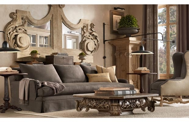 Pretty gray couch and taupe color walls, love the giant mirror too!!