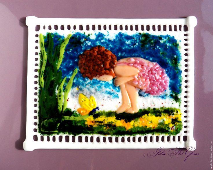 Купить Бабочка, стекло, фьюзинг - цветы, дети, картина в детскую, детская картина, Фьюзинг, Витраж