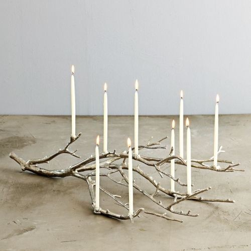 cute.: Westelm, Ideas, Christmas Centerpieces, Treebranch, Candelabra, Candles Holders, Trees Branches, Dining Rooms Tables, West Elm