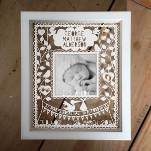 Personalised Instagram New Baby Papercut - picture frames
