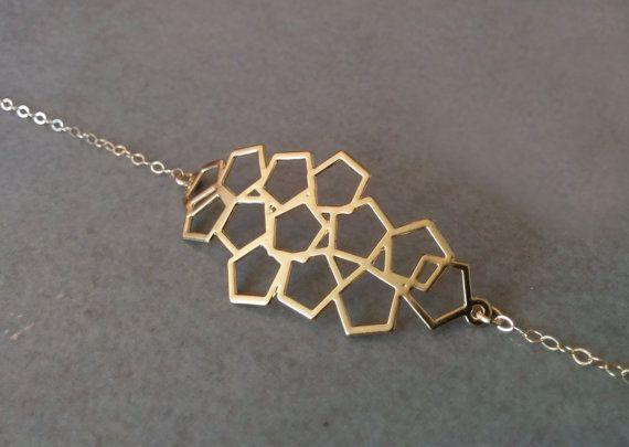 Gold Charm Bracelet Charm Bracelet Geometric by HilaAssaJewelry