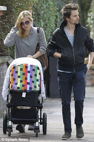 Trendsetters: Kate Hudson (left, with Matt Bellamy in 2011) and Hilary Duff (right, with Mike Comrie in 2012) used the Bugaboo to cart their babies around town
