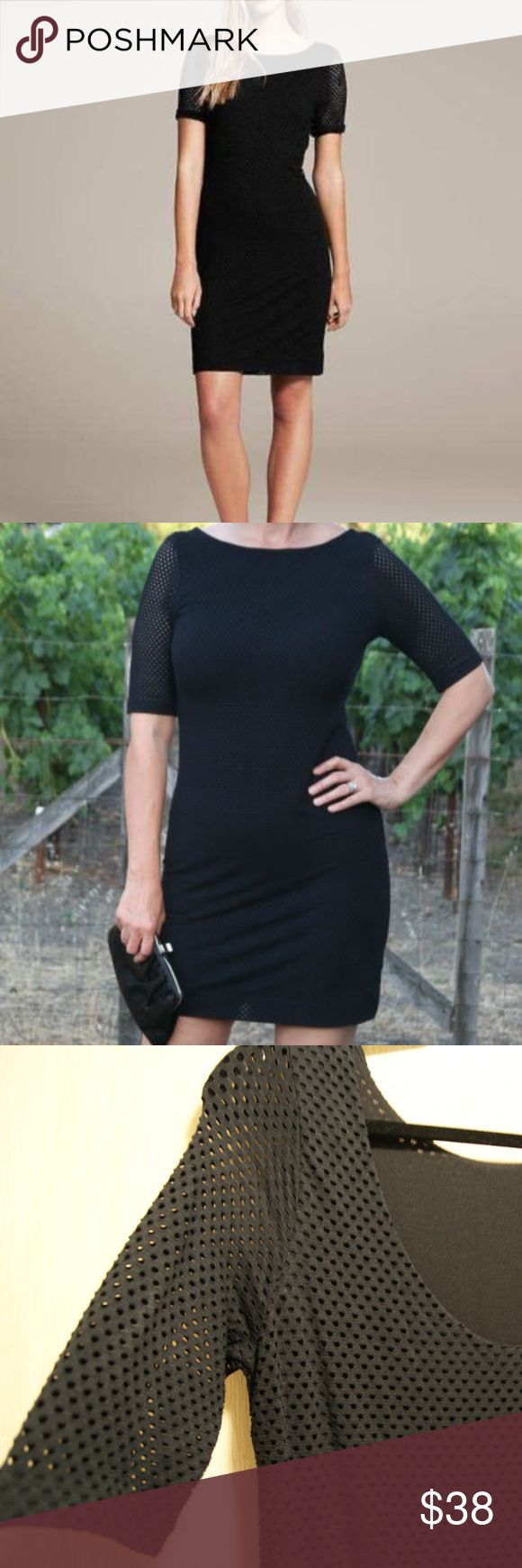 "NWT BANANA REPUBLIC BLACK KNIT PERFORATED DRESS, 8 NEW BANANA REPUBLIC BLACK KNIT PERFORATED DRESS, SZ 8, MSRP $110.00!  STYLE: KNIT PERFORATED DRESS / 95% RAYON, 5% SPANDEX / BOATNECK / ELBOW-LENGTH SLEEVES. COLOR: BLACK/SIZE: 8 / BODY LENGTH: REGULAR: 35"" CONDITION: NEW WITH TAGS THIS DRESS IS GREAT EITHER FOR WORK AND OR EVENING WEAR. IT LOOKS ELEGANT AND IS EXTREMELY COMFORTABLE, DRESSED UP WITH PUMPS, BLAZER AND NICE JEWELRY. THE MATERIAL IS SOFT AND HAS A NICE STRETCH. THE LENGTH IS…"
