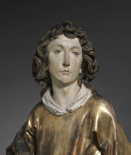 Saint Stephen, 1502-1508 Tilman Riemenschneider (German, c. 1460-1531) lindenwood with polychromy and gilding, Overall - h:93.50 w:35.00 d:23.50 cm (h:36 3/4 w:13 3/4 d:9 1/4 inches) | Cleveland Museum of Art