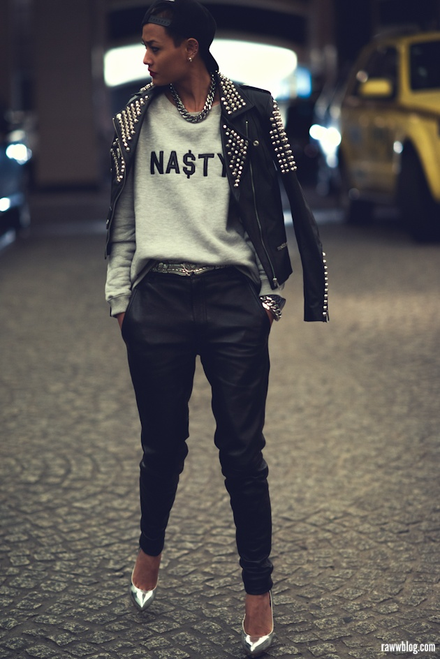 Micah Gianneli_Raww blog_Jesse Maricic photographer_Rihanna style_Nasty sweater_Misbhv_Trill_Leather boyfriend pants_Best fashion blog_Hip hop urban fashion editorial_Night editorial_Studded biker_Misbhv editorial campaign_Riri style_Amber Sceats