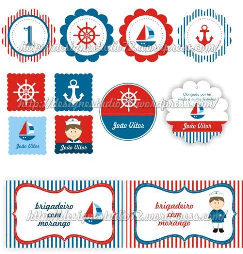 adesivos e tags | Festa Marinheiro | Pinterest | Etiquetas