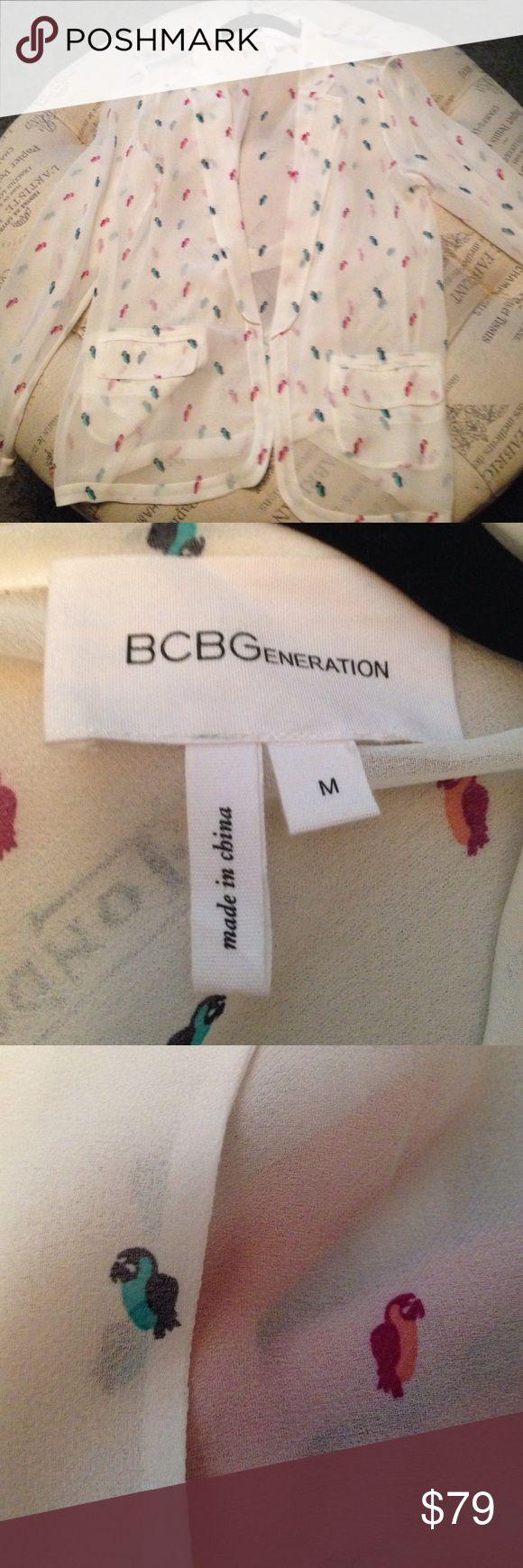 BCBGeneration sheer parrot blazer size M Only wore once sheer parrot blazer by BCBGeneration size M BCBGeneration Jackets & Coats Blazers