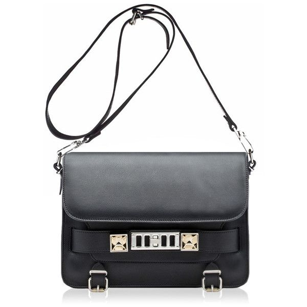PROENZA SCHOULER PS11 Classic Leather Black ($1,865) ❤ liked on Polyvore featuring bags, handbags, shoulder bags, bolsas, bolsos, borse, purses, black leather handbags, studded purse and leather handbags